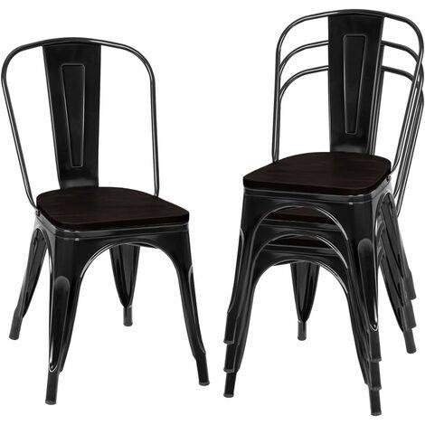COSTWAY 4er Set Esszimmerstuhl, Bistrostuhl aus Metall, Barhocker stapelbar, Metallstuhl bis 120kg belastbar Schwarz