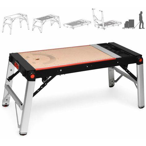 COSTWAY 5 en 1 Etabli de Travail Pliante en Fer+Aluminium Table de Travail avec Cadre Robuste et Roues Glisses PortableCharge Max 150-226KG