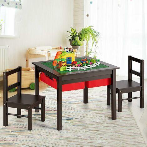 COSTWAY 5 en 1 Table d'Activités et Chaises pour Enfant avec 2 Tiroirs de Rangement,Table pour Jeux de Construction Dessiner