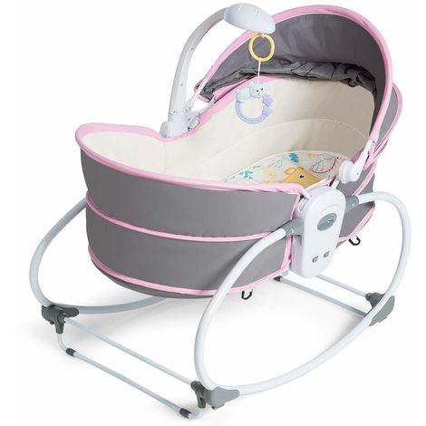 COSTWAY 5 in 1 Babyschaukel, Stubenwagen multifunktional, Babywiege tragbar, Beistellbett, mit Musik und Spielzeug, Babybett, fuer Neugeborene, Babywippe, Schaukelwiege geeignet fuer 0-36 Monate Rosa