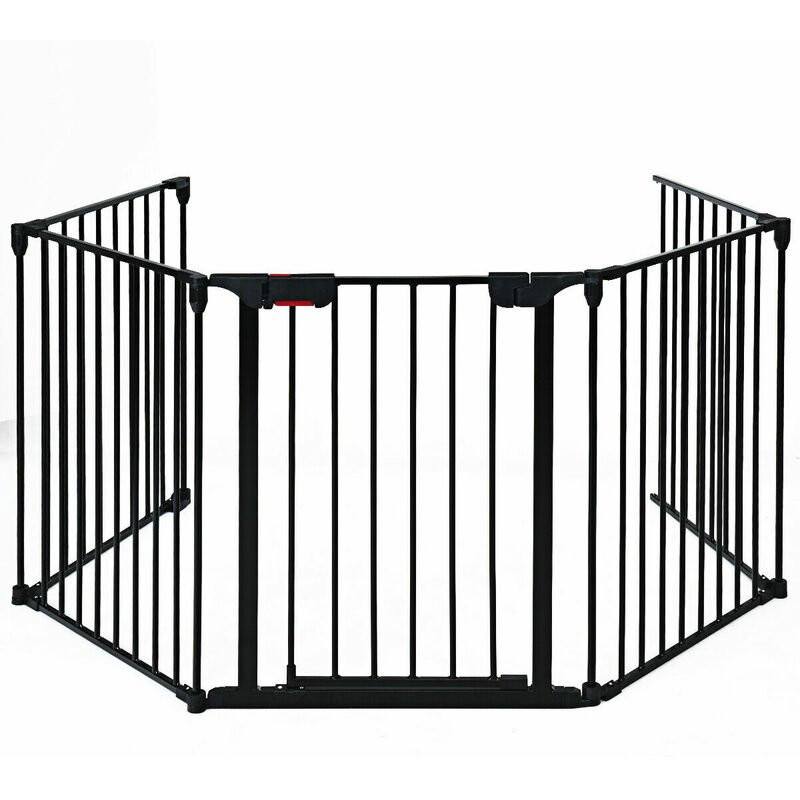 Image of 5 Panel Baby Safety Playpen Fireplace Barrier Hearth Gate Room Divider Black - Costway