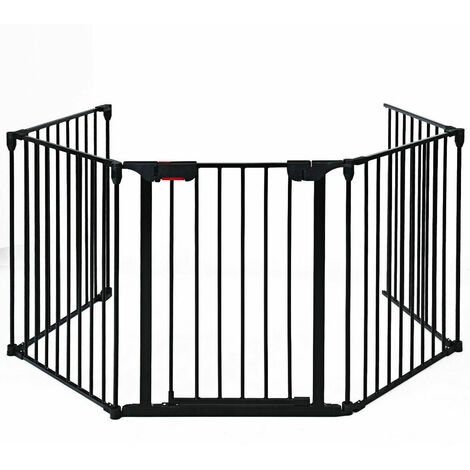 Costway 5 Panel Baby Safety Playpen Fireplace Barrier Hearth Gate Room Divider Black