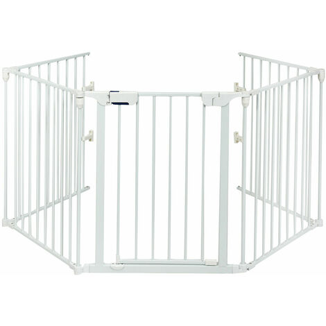 Costway 5 Panel Baby Safety Playpen Fireplace Barrier Hearth Gate Room Divider White