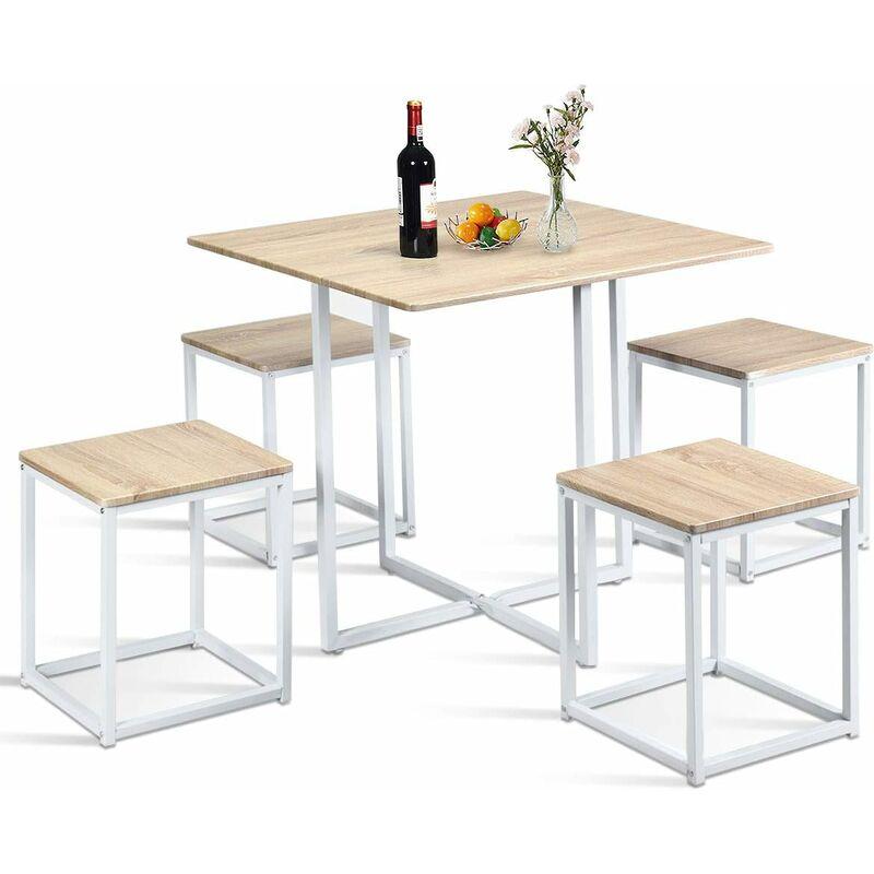 COSTWAY 5-teilige Essgruppe, Esszimmergarnitur, Tischgruppe, Kuechentisch und 4 Stuehle, mit Metallbeinen, ideal fuer Kueche Esszimmer, platzsparend