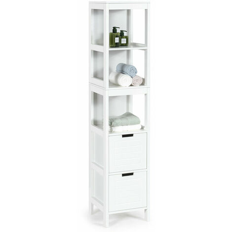 COSTWAY 5-Tier Bathroom Tall Cabinet Storage Organizer Rack Stand Cupboard 2 drawers