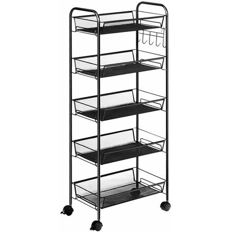 COSTWAY 5 Tiers Rolling Trolley Cart, Metal Utility Shelves with Mesh Baskets and Wheels, Multi-Purpose Storage Organizer Cart for Kitchen Bathroom Office Black
