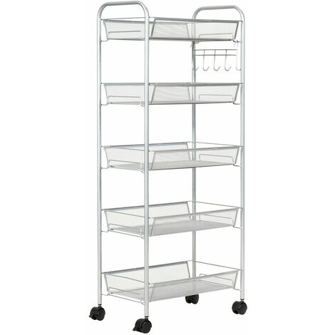 COSTWAY 5 Tiers Rolling Trolley Cart, Metal Utility Shelves with Mesh Baskets and Wheels, Multi-Purpose Storage Organizer Cart for Kitchen Bathroom Office Grey