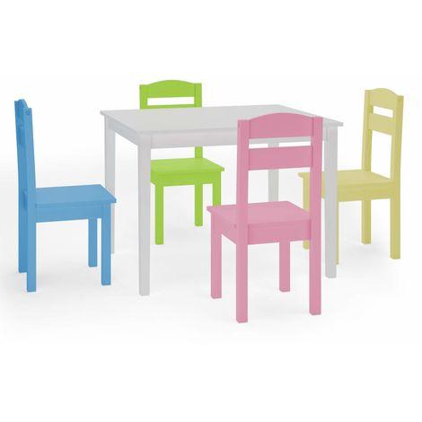 COSTWAY 5 TLG. Kindersitzgruppe, Kindertischgruppe, Kindertisch mit 4 Stuehlen, Kindermoebel aus Kiefer, Holzsitzgruppe fuer Maedchen und Jungen Weiss