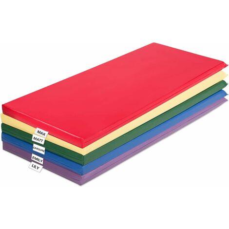 COSTWAY 5cm Dicke Kindermatte, Krabbelmatte in Regenbogenfarben, Spielmatte tragbar, Schlafmatte mit transparenten Halter fuer Namensschilder, fuer Kleinkinder, Kinder
