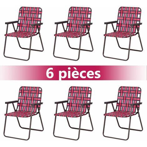 COSTWAY 6 PCS Chaises de Plage Pliantes Chaise de Camping Portable en Toile avec Accoudoirs en Acier en Forme de U,Support 120 KG