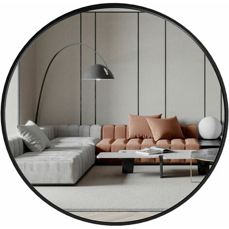 """main image of """"COSTWAY 60cm Large Round Mirror, Black Frame Makeup Shaving Hanging Mirrors, Wall Mounted Circle Mirror for Living Room Bathroom Entryway"""""""