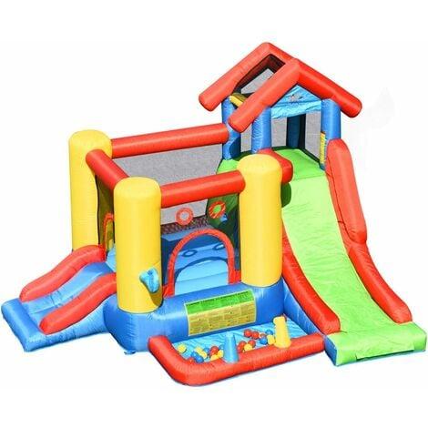 COSTWAY 7 en 1 Aire de Jeux Gonflable pour 5 Enfants Plus de 3 Ans avec Toboggan,30 Ballons 300x360x235CM Charge Max 135KG Extérieur