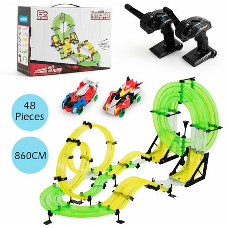 Costway 860CM Car Race Track Double Rail Hand Rolling Slot Cars Playset 2 RC Speed Cars