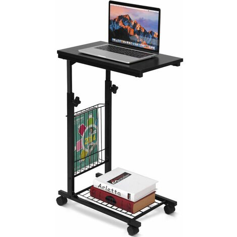 COSTWAY Adjustable Sofa Side End Coffee Table With Wheels C-Shaped Laptop Notebook Desk
