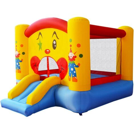 COSTWAY Aire de Jeux Gonflable de Motif de Clown avec Toboggan pour Enfant 300 x 225 x 175