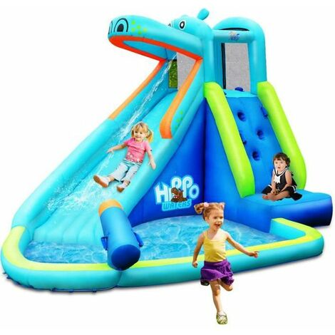 COSTWAY Aire de Jeux Gonflable Enfant avec Toboggan-Piscine,Mur d'Escalade,Canon à Eau-en Polyester Charge 90KG Souffleur Non-inclus