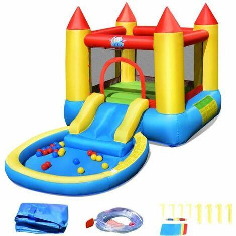 COSTWAY Aire de Jeux Gonflable Enfants avec Toboggan,Aquatique-Aire de Saut-Piscine à Boules Charge 68KG Souffleur Non-inclus