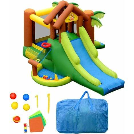 COSTWAY Aire de Jeux Gonflable pour 5 Enfants 3-10 Ans avec 30 Balles 388x343x228CM Charge Max 135KG Extérieur Souffleur Non-inclus
