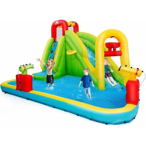 COSTWAY Aire de Jeux Gonflable pour Enfants avec Toboggan à l'Eau, Piscine en Plein Air et Panier de Basket 400 x 335 x 230 CM