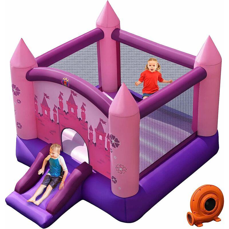 COSTWAY Aire de Jeux pour 2 Enfant 3-10Ans avec Souffleur 330W Toboggan Sac Portable Tissu Oxford Forme Châteaux Intérieur/Extérieur