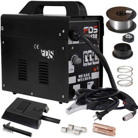 COSTWAY Ampere Schweissgeraet MIG 130 Schweissmaschine FLUX Schutzgas Elektrodenschweissgeraet Fuelldraht Schwarz