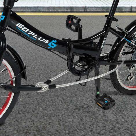 COSTWAY Antivol Vélo en U avec 3 Clés et 1,2 m Flex Acier C?ble + Support de Fixation sur Cadre,pour VTT, Scooters Noir Sécurité Cadenas