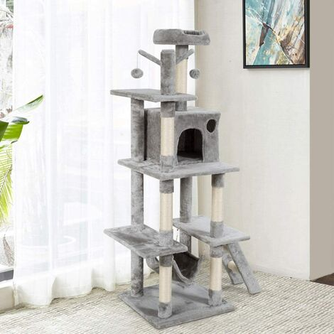 COSTWAY Arbre à Chat avec Multi-Etage Hamac Suspend Poteaux à Gratter et Plate pour Grimper,Gratter et Dormir 87x50x155CM Gris Foncé