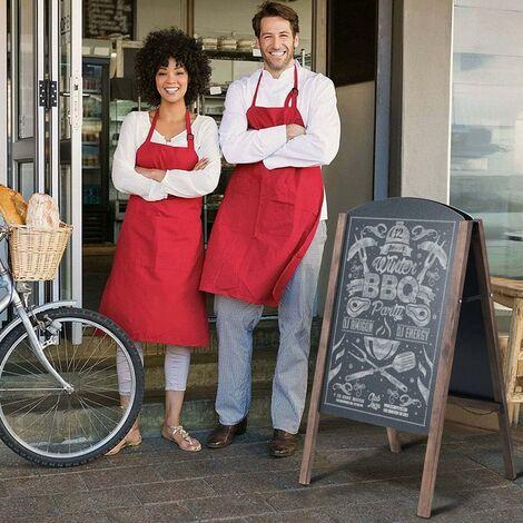 COSTWAY Ardoise Cadre en Bois Tableau à craie chevalet planche de trottoir tableau de menu, panneau publicitaire pour Restaurant,mariage etc