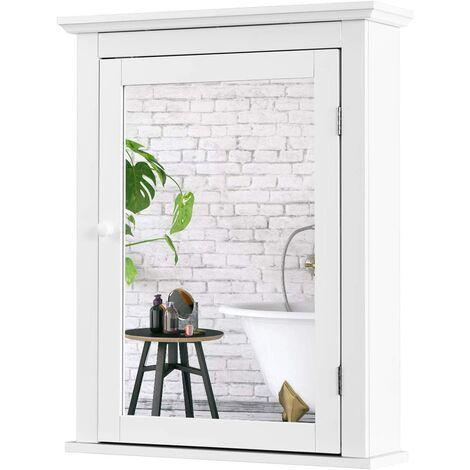 COSTWAY Armoir de Toilettes Mural avec Miroir et 2 Etagères Meuble de Salle de Bain MDF Tablette Ajustable en 5 Positions