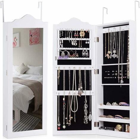 COSTWAY Armoire à Bijoux avec Miroir en MDF,Meuble à Bijoux Blanc - Trois Etagères pour Stoker- Adapté au Salon, à la Chambre 96x35x9,7cm