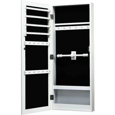 COSTWAY Armoire à Bijoux avec miroir Murale Cabinet de bijoux Stockage blanc