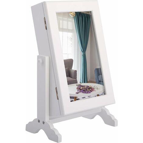 COSTWAY Armoire à Bijoux avec Miroir sur Pieds Miroir de Rangement 23 x 14 x 34,5 cm Cabinet de Bijoux avec Angles Pivotant, Blanc
