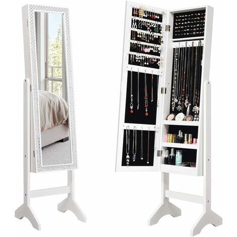 COSTWAY Armoire à Bijoux sur Pied 2 en 1 Rangement pour Cosmétiques avec Miroirs Style Romantique Noir
