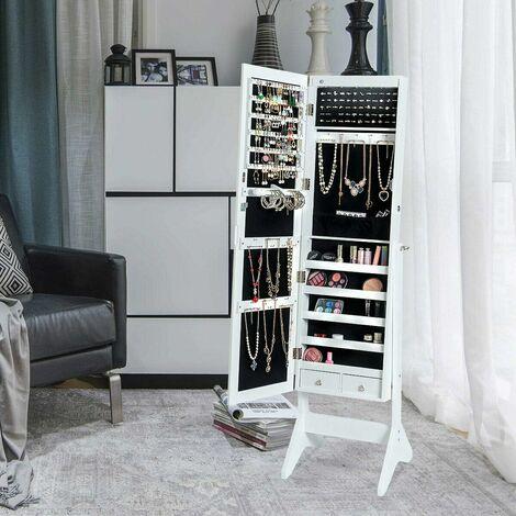 COSTWAY Armoire à Bijoux sur Pied avec LED, Serrure Verrouillable, Rangement Cosmétique Angles Réglables Blanc