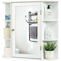 COSTWAY Armoire à pharmacie Armoire de toilette armoire pour salle de bains murale avec portes et miroirs 66x17x63cm