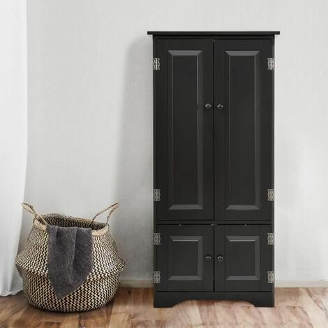 COSTWAY Armoire de Chambre en Bois de Style Vintage pour Rangement avec 2 Etagères Réglables à 5 Positions en Bois 55 x 30,5 x 124,5CM Noir