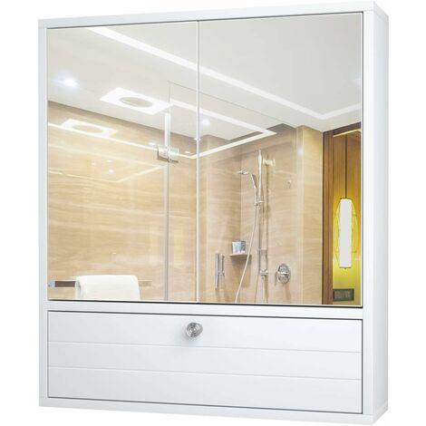 COSTWAY Armoire de Salle de Bain avec 2 Porte Miroir, Armoire à Pharmacie en Bois avec Etagère Ajustable Blanc Meuble WC Blanc 54 x 14 x 22 CM (L x l x H )