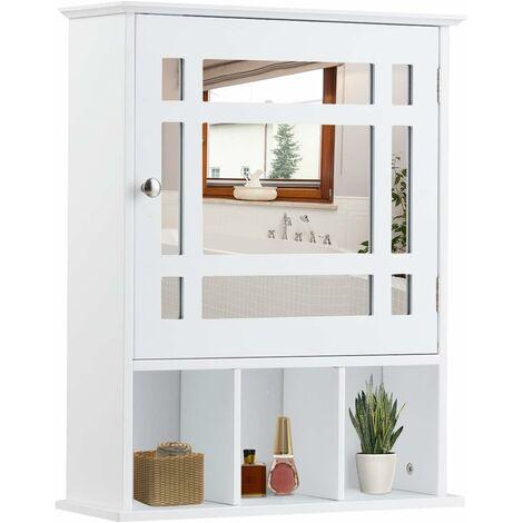 COSTWAY Armoire de Salle de Bain Murale avec Miroir Impérméable Fait en MDF avec 2 Etagères Réglables et 3 Compartiments Blanc