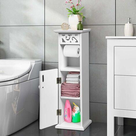 COSTWAY Armoire Toilettes avec 1 Support Papier et 2 Tablettes de Rangement Meuble de Salle de Bain Blanc - MDF 20 x 20 x 66 CM