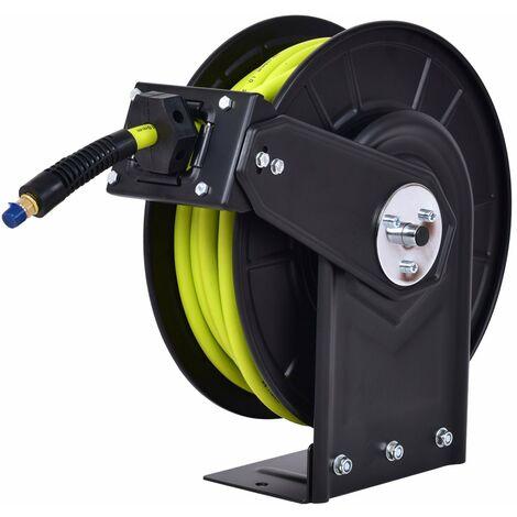 COSTWAY Automatische Schlauchtrommel Druckluftschlauch Druckluft Schlauch mit Aufroller Schlauchaufroller Automatik Drucklufttrommel 15M