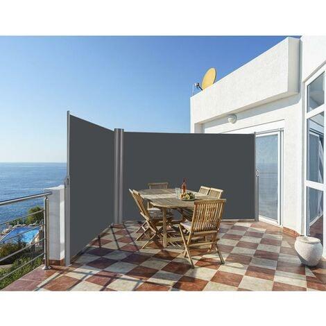 COSTWAY Auvent Latéral Rétractable Double 160x600CM en Aluminium et Tissu Polyester Résistant aux UV pour Terrasse,Balcon Gris Foncé