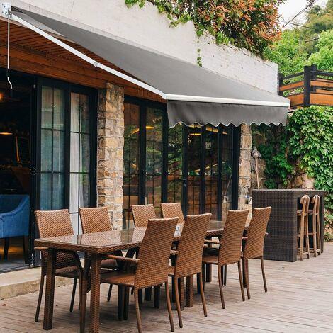 COSTWAY Auvent Rétractable Manuel 245x200CM Angle Ajustable 40°-100° sans Perçage en Aluminium et Tissu Teint en Fil pour Fenêtre,Terrasse, Balcon ou Jardin Installation Rapide Gris