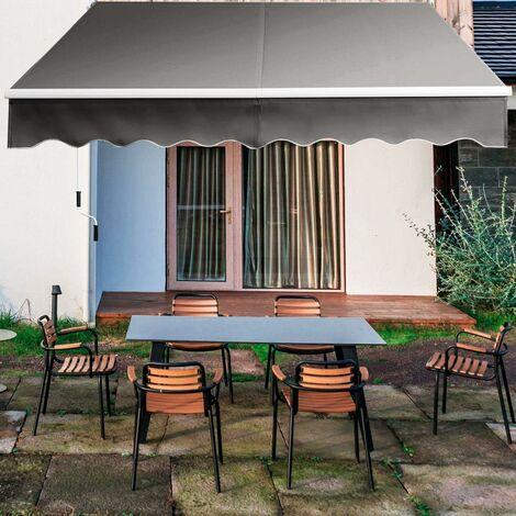 COSTWAY Auvent Rétractable Manuel 295x250CM Angle Ajustable 40°-100° sans Perçage en Aluminium et Tissu Teint en Fil pour Fenêtre,Terrasse, Balcon ou Jardin Installation Rapide Gris