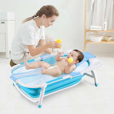 COSTWAY Baby Badewanne klappbar, Babywanne mit rutschsicherer Fusspolster, Badewannensitz hoehenverstellbare, Babybecken fuer Neugeborene, Saeuglinge und Kleinkinder
