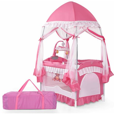 COSTWAY Baby Cot, 4 in 1 Convertible Infant Bed with Detachable Canopy, Changing Table, Mosquito Net, Hanging Toys and Carry Bag, Foldable Bassinet for 0 to 36 months