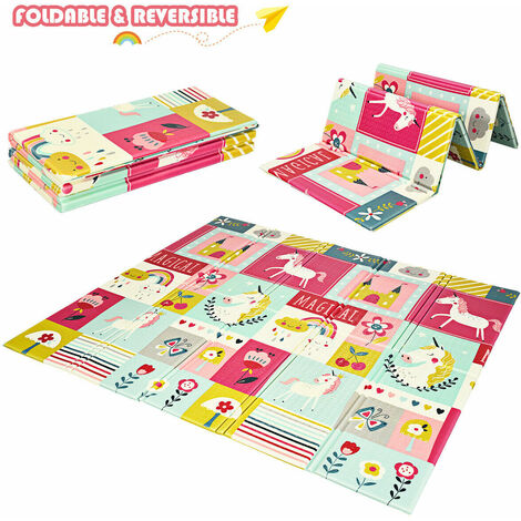 COSTWAY Baby Play Mat, Waterproof Extra Large Foam Playmat with Carrying Bag, Double-Sided Thick Floor Crawling Mats for Babies Toddlers, 180 x 200 x 1.5cm (Pink Unicorn)