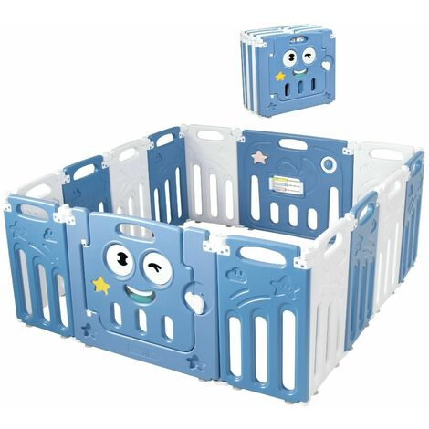 COSTWAY Baby Playpen, Safety Activity Center with Lock Door, Rubber Pads & Anti-Slip Rubber Bases, Foldable Play Yard Fence for Babies, Toddlers (Blue)