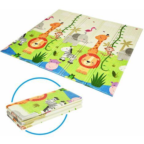 COSTWAY Baby Spielmatte faltbar, Babymatte doppelseitig, Krabbelmatte aus XPE Material, Krabbeldecke, Spielteppich fuer Babys, Saeuglinge und Kleinkinder, 200 x 180 cm Gruen
