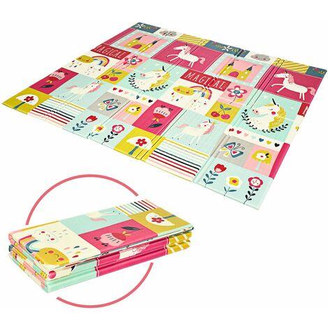 COSTWAY Baby Spielmatte faltbar, Babymatte doppelseitig, Krabbelmatte aus XPE Material, Krabbeldecke, Spielteppich fuer Babys, Saeuglinge und Kleinkinder, 200 x 180 cm Rosa
