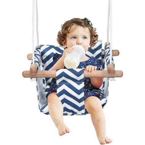 COSTWAY Babyschaukel Haengender Schwing Sitz Kinderschaukel Kinder Haengesessel Schaukel Holz fuer drinnen und draussen Blau